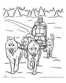 iditarod coloring pages worksheets life skills lesson teamwork dog sled
