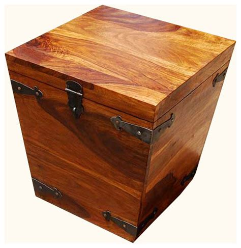 Decorative Trunks For Coffee Tables Solid Wood Square Storage Trunk Coffee Side Table Transitional Decorative Suitcases Trunks