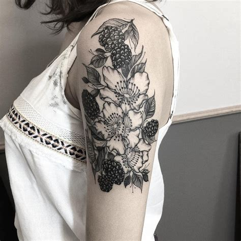 the 81 most gorgeous blackwork flower tattoos tattoomagz