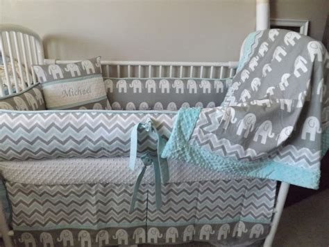 grey elephant baby bedding elephant gray and aqua baby bedding crib set by