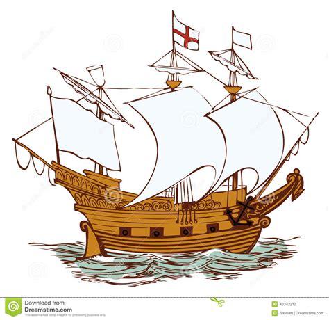 mayflower boat cartoon old english ship stock vector image 40342212