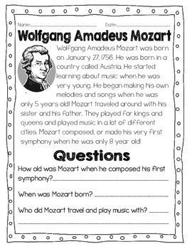 mozart biography for middle school students studying composers all about mozart worksheets