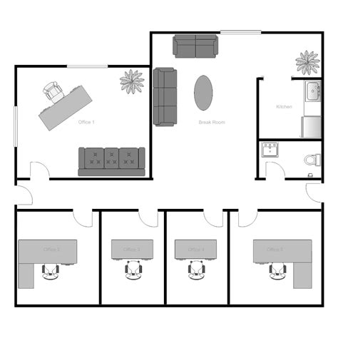 the floor plan of a new building is shown office building floor plan