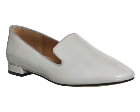 office slippers office drum roll square toe slippers grey patent leather