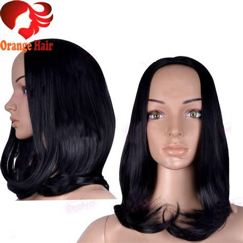 Wig And Hair Extension Tipe 2 Import bob wavy half wigs human hair glueless 3 4 half wigs hair in stock 1 jet
