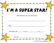 Printable Super Star Award Certificates Templates