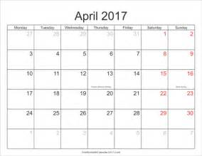 2017 Monthly Calendar With Holidays April 2017 Calendar Printable With Holidays Monthly
