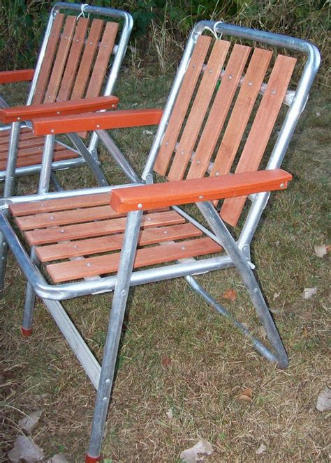 Vintage Redwood Patio Furniture by Vintage Aluminum Redwood Slat Folding Chair Outdoor