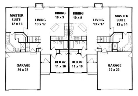 ranch duplex floor plans plan 2190a duplex ranch houseplan