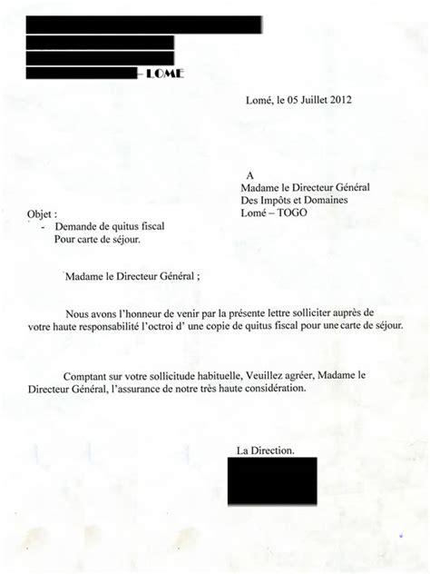 Exemple De Lettre De Demande De Visa Modele Lettre Quitus Fiscal Document