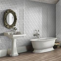 Rustic Cottage Kitchen - bevelled brick light grey gloss wall tiles retro metro tiles 200x100x5mm tiles