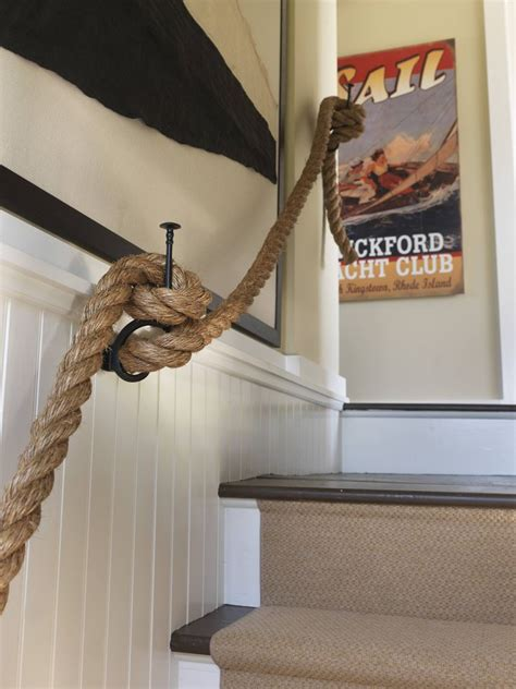 rope banister rail nautical rope stair rail love it beachinteriors