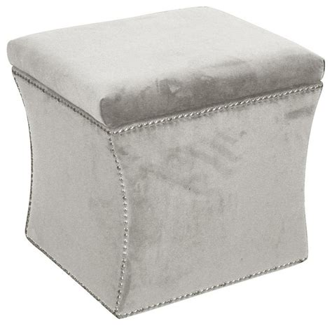Velvet Storage Ottoman Velvet Nail Button Storage Ottoman Transitional Footstools And Ottomans By Shopladder