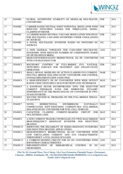 Ieee 2014 Power Electronics Project List In Chennai | Jzgreentown.com