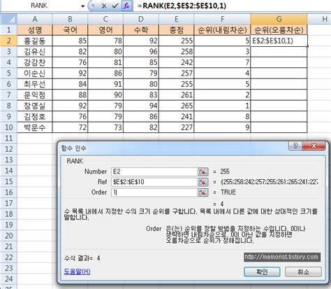 Csudh Mba Ranking by 엑셀 순위 함수 Rank 함수로 순위 구하기 예제