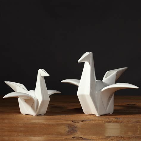 Origami Pottery - new white porcelain ornaments lucky ceramic paper crane