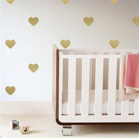 gold wallpaper stickers heart wall decals project nursery