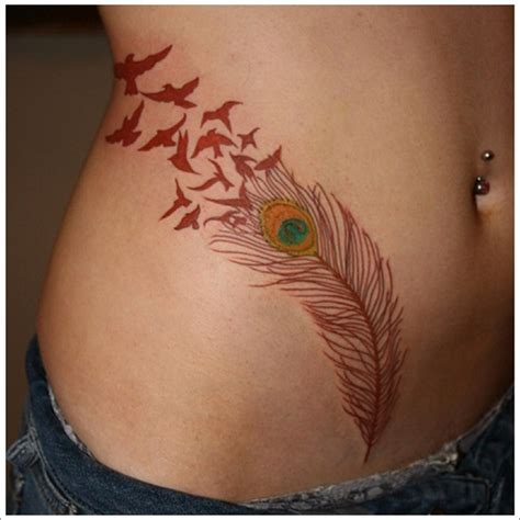 feather hip tattoo hip and side feather and birds
