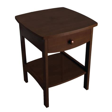 walnut accent table walnut finish accent table nightstand with one drawer