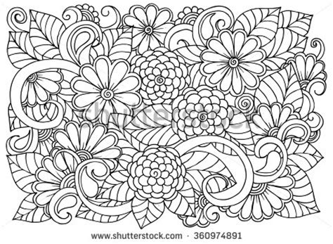 doodle designs to color doodle floral pattern in black and white page for