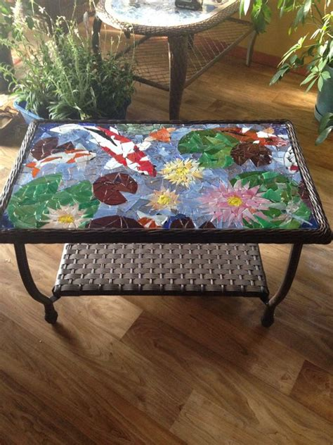 Ponds Coffee patio coffee table quot koi pond and water lilies quot mosaic