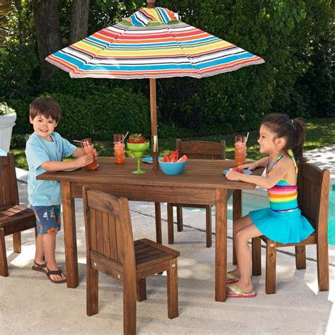 kidkraft outdoor table   stacking chairs  striped