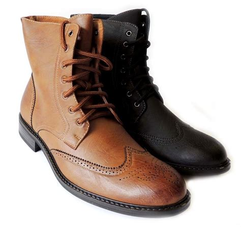 new fashion mens high ankle boots lace up oxfords wing tip