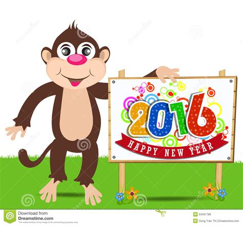 new year monkey element happy new year 2016 year of the monkey stock vector