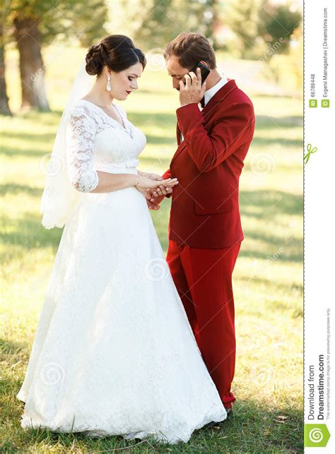 Urgent Wedding Groom Is Busy Talking On Phone Waiting Displeasure
