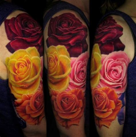 colored roses tattoos best 20 3d ideas on colorful