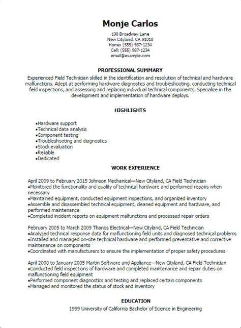 Field Technician Resume Sle by Professional Field Technician Resume Templates To Showcase