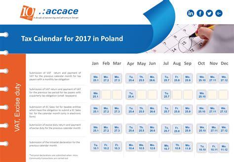 Tax Calendar 2017 Tax Calendar Poland Accace Outsourcing And