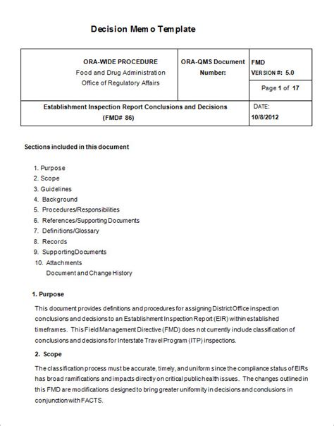 decision process template 8 decision memo templates free word pdf documents