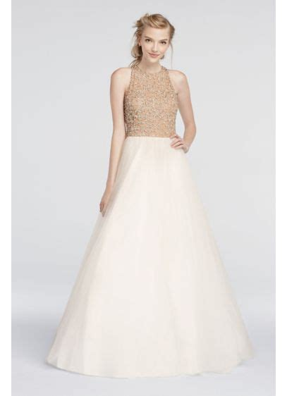 beaded high neck prom dress with gown skirt david s