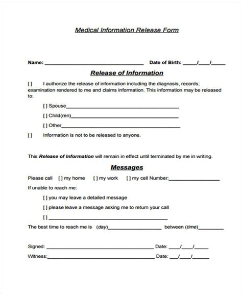 information release form template information release form release form 04