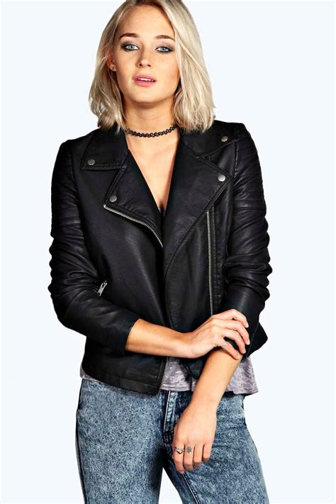 Faux Leather Jacket jade faux leather biker jacket at boohoo