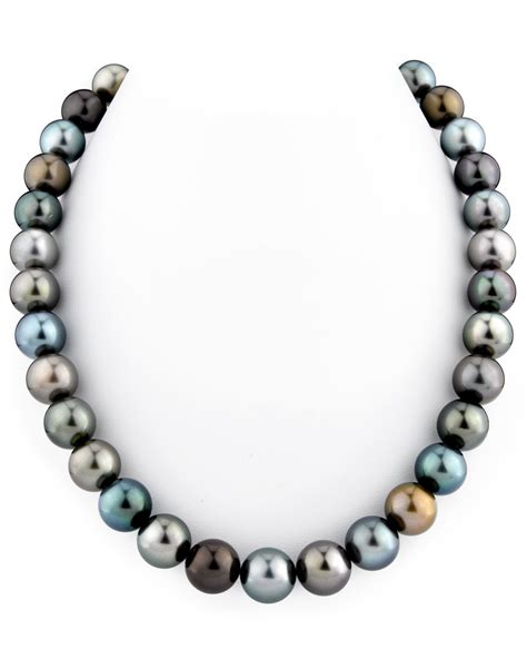 11 12mm tahitian south sea multicolor pearl necklace