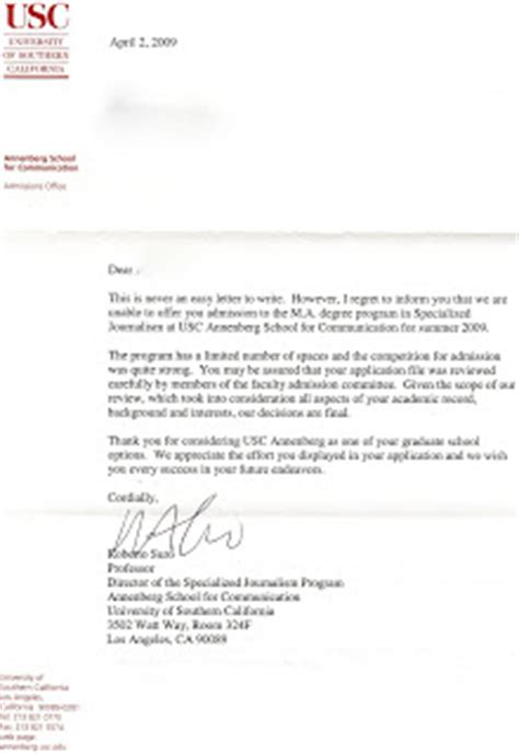 Usc Decline Letter Rejection Usc Specialized Journalism Graduate Program