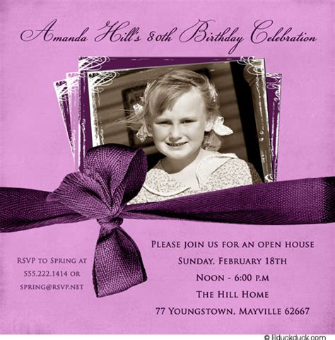 80th birthday invitation lilac photo woman s purple