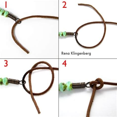 knots for jewelry rustic leather bead necklace tutorial half hitch