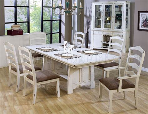 Distressed Dining Room Furniture Distressed Wash White Finish Country Style Dining Set