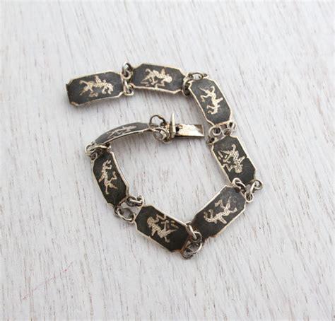 vintage sterling silver siam bracelet signed thai panel