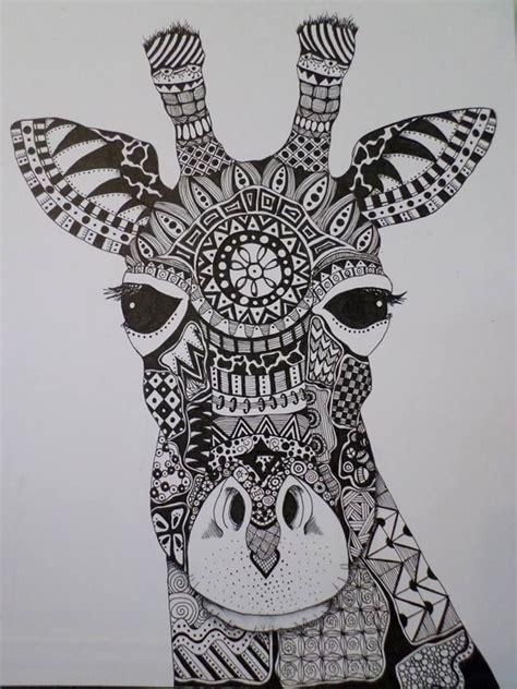 zentangle giraffe spring  giraffe coloring pages