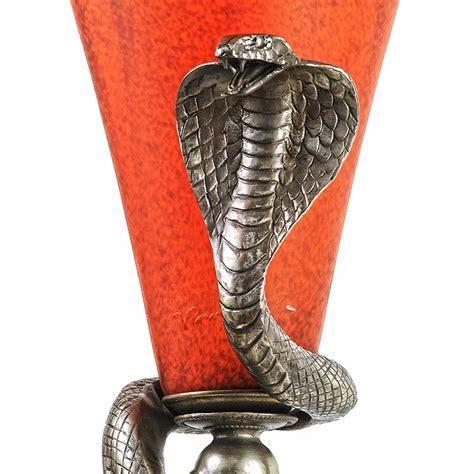 Art Deco Edgar Brandt Style Bronze Snake Table Floor Lamp