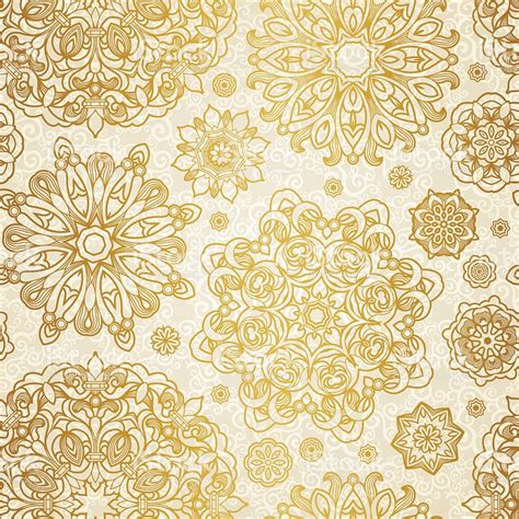 pattern of gold seamless vector pattern of gold mandalas on cream