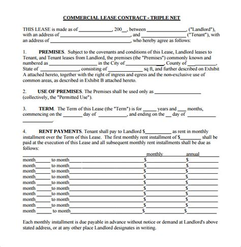 net lease template sle net lease agreement 7 documents in word pdf