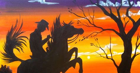 paint nite calgary olive grove sunset cowboy painting silhouette acrylic by the