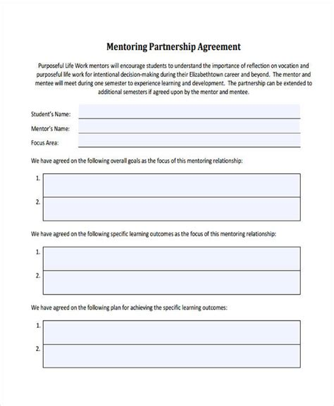 mentor contract template image collections templates