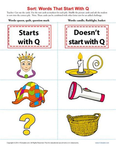 words with q words starting with letter q beginning consonant worksheets