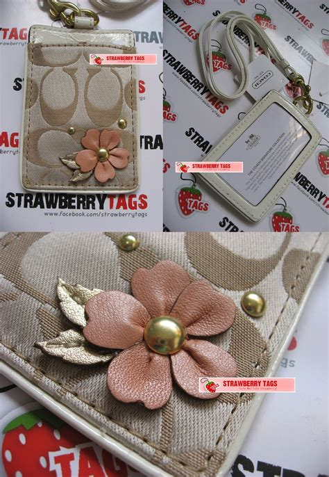 Coach Swagger 27 Applique Flower 100 Original Authentic Bag strawberry tags coach signature sateen applique flower lanyard id 61555